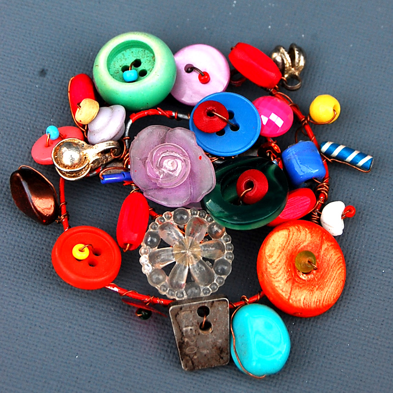 Funky Button Brooch